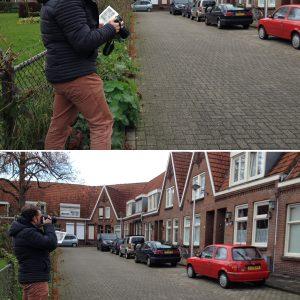 J.: Maarten fotografeert de exacte locatie